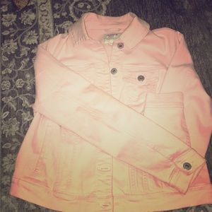 Pink stretch denim jacket